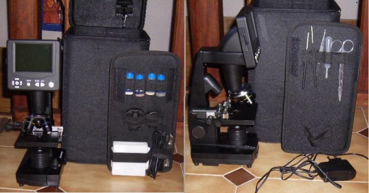 Le microscope-vidéo et tous ses accessoires